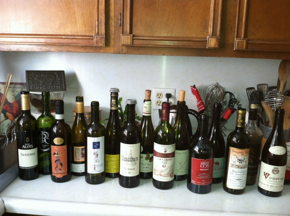 Some of the wines tasted during Halloween party.